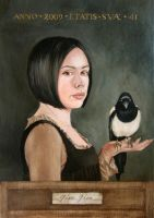 Self Portrait with Magpie by enginemonkey