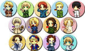 Hetalia Buttons by betrayal-and-wisdom
