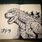 Godzilla 2014 ink sketch by NickMockoviak