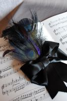 Black Peacock Hairpin by RagDolliesMadhouse