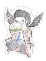 Castiel and a Burger by MamaLars