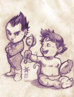 baby Vegeta and Goku by Mundokk