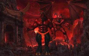 Baphomet and his master Diablo by Spino2006