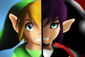 Link and Shadow Link by Meya-san