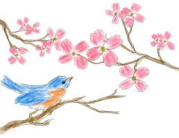 Bluebird and Dogwoods by LauraMartinArt