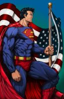 Patriotic Superman (color) by rhixart