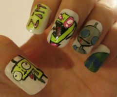 Invader Zim nails by henzy89