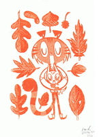 Mewsli Gocco Print by Pocketowl