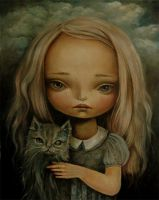 The girl with a cat by paulee1