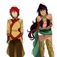 Lie Ren and Pyrrha Nikos: Color Palette Swap by Sogequeen2550