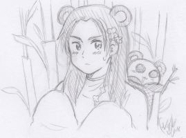 China as a Panda..aru? (Sketch) by xXKikaru-ChanXx