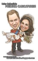 Prince William Kate Middleton Caricatures by Reinsstudio