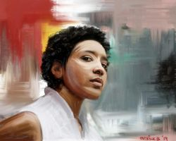 afro woman painting by p-sketch