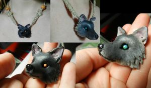 Wolf Pendant close ups by PoisonJARCreations