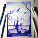 Deer + Mountain Watercolour Painting by LethalChris