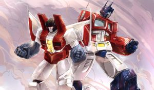 optimus and starscream COMMISH by angryangryasian
