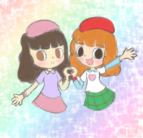 Pop'n Music - Sanae and Rie by NeonGalaxies