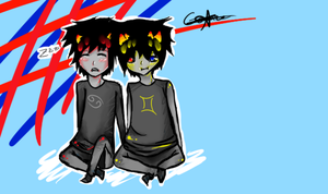 karkat and sollux by gamze135