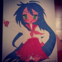 Konata Izumi, made by pencil and crayons, by me~ by LadyEdile