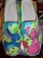 Stitch and Angel shoe colored by IamKira69