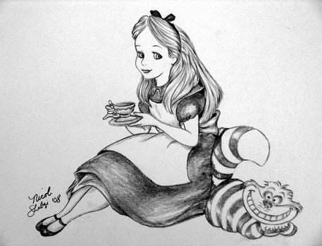 Alice and the Cheshire Cat by linus108Nicole