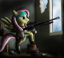 Adorable Evil  Fluttershy sniping by Miokomata