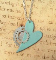 My Metal Heart Steampunk Enamel Necklace by FusedElegance