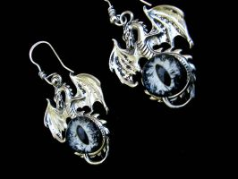 Custom - Silver Night Sky Dragon Eye Earrings by LadyPirotessa