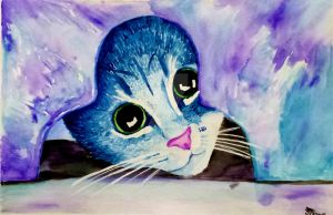 Watercolor kitty by Fire-Redhead