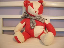 Vintage Red and White Quilt Bear by FuzzyViper
