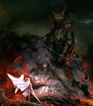 Morgoth and Fingolfin, the Ruin of Beleriand by Art-Calavera