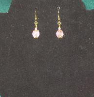 Pink crystal earrings by BlackUnicornWood