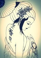 geisha sketch by carldraw