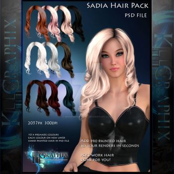 Sadia painted Hi Res 10 x Instant Hair STOCK PSD by MakeMeMagical