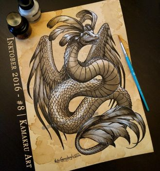 Inktober 2016 / Ink and Coffee #8 - Quetzalcoatl by Kamakru