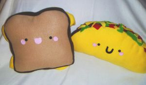 Grilled Cheese and Taco pillow by JustMadeCute