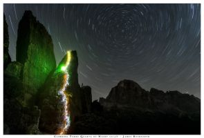 Climbing at Cinque Torri by night by JamesRushforth