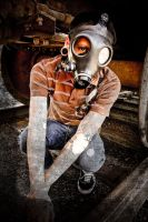 Nick in a gas mask 1 by headaike