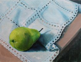 Pear on Lace by mbeckett