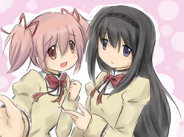 Madoka and Homura by mewarrow