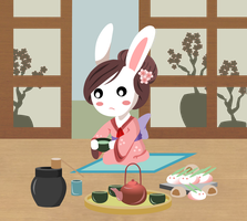 tea ceremony bunny by rainELL
