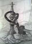 Water pipe, coffe pot and a small glass by shlomigor