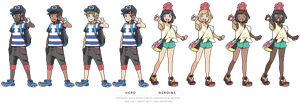 (POKEMON SUN/MOON) heros sprites by Nephae