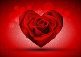 Red Rose in The Shape of Heart red background by vectorbackgrounds