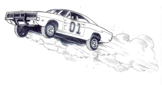 Muscle car drawing outline 5