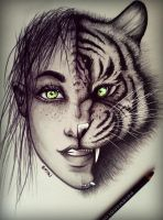 Women Tiger drawing by Bajan-Art