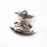 Top Hat with Stache: Steampunk silver charm by Joshuadsanchez