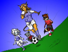 Friends Playing Soccer by Timothius