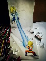vegeta vs goku 3d drawing by Arthur T. Cortez by ATCdrawings