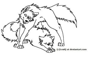 free lineart-wolf pair by LexiQ